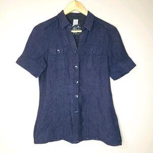 Olsen Short Sleeve Linen Button Up Size 6 Shirt